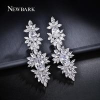 ZOEVON AAA Oval And Marquise Cut CZ Diamond 70mm Long Big Earrings For Women Flower Shape