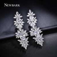 ZOEVON AAA Oval And Marquise Cut CZ Diamond 70mm Long Big Earrings For Women Flower Shape