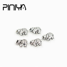 Vintage Accessories 12*6mm 10Pcs/Lot Metal Elephant Charm Beads Antique Silver Color Pendant For Needlework Diy Jewelry Making