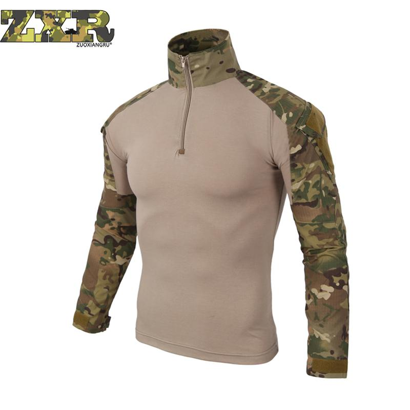 все цены на Men Camouflage Army T-Shirt Men Soldiers Combat Tactical Military Force Multicam Camo Long Sleeve Woodland Wolf Gray T Shirts