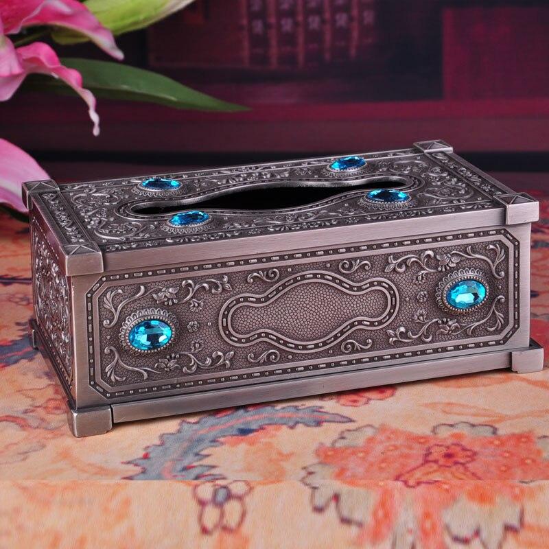 Vintage antique boîte de mouchoirs en étain couleur boîte de serviette en métal distributeur boîte de papier de soie boîte de mouchoirs décoratifs couvre ZJH016A