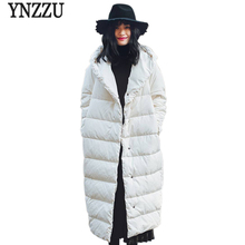 YNZZU Brand New Winter Jacket Women Long 90% White Duck Down Coat Solid Hooded High Quality Warm Oversized Female YO455