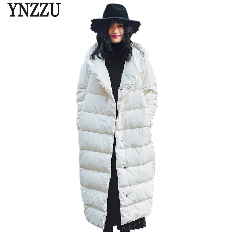 YNZZU Brand New Winter Jacket Women Long 90% White Duck   Down     Coat   Solid Hooded High Quality Warm Oversized Female Jacket YO455