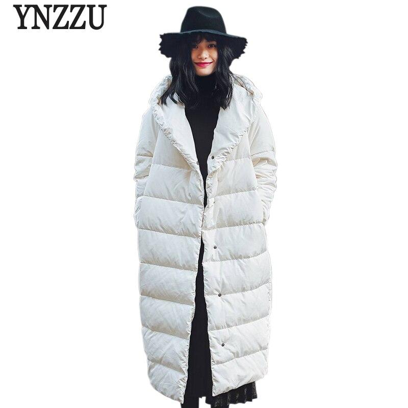 YNZZU Brand New Winter Jacket Women Long 90% White Duck Down Coat Solid Hooded High Quality Warm Oversized Female Jacket YO455