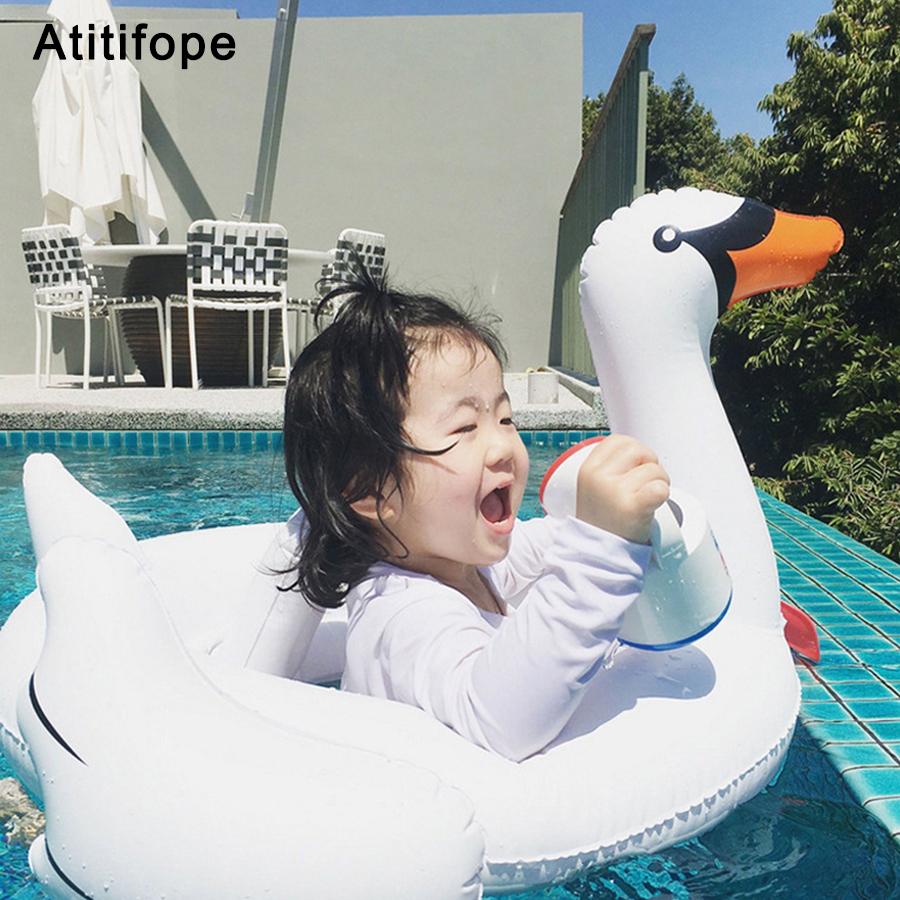 Baby Plastic Safe Cute Seat Float White Swan Float Swim Ring Water High Quality Children Inflatable Seat Float