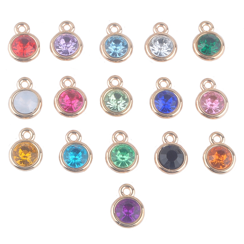 12pcs lot mixed birthstone charms 11mm acrylic gold for Birthstone beads for jewelry making