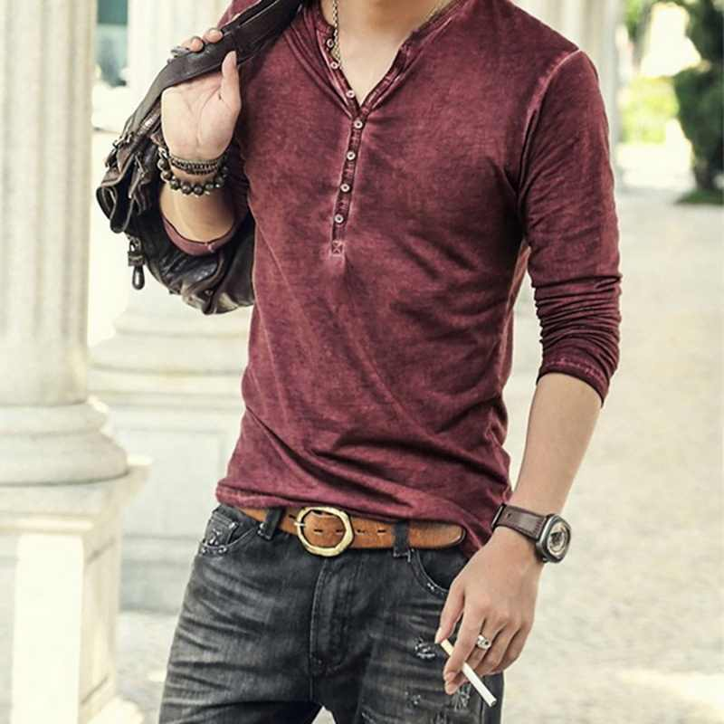 シュージン男性ファッションカジュアル襟 tシャツ高品質小 V ネックトップスヴィンテージ長袖 Tシャツファッションストリート
