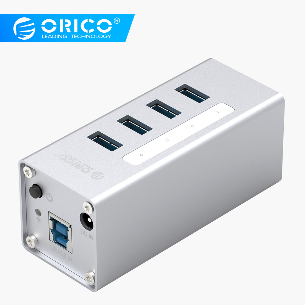 ORICO A3H4 kõrge kvaliteediga Powerd 4 port alumiinium USB 3.0 HUB sülearvuti jaoks - hõbedane
