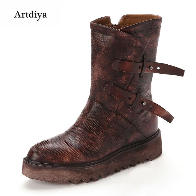 Artdiya high quality genuine leather handmade boots vintage women boots wedges medium leg elevator boots buckle boots T1521-1