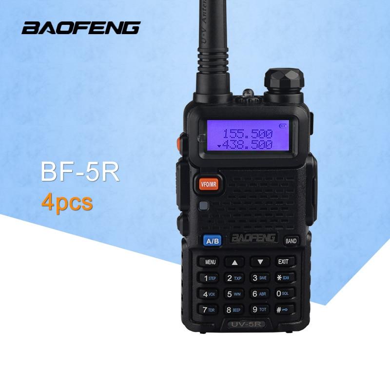 (4 pièces) Baofeng UV5R Radio bidirectionnelle VHF/UHF136-174Mhz & 400-520 MHz double bande UV5R Radio talkie-walkie Radio CB (noir)