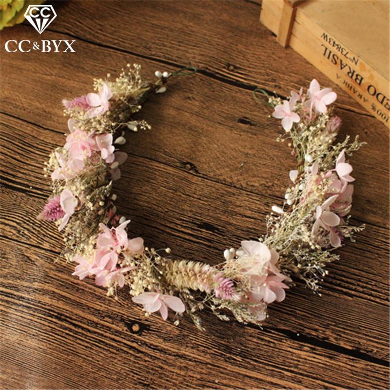 CC свадебные искусственные диадемы и короны, гирлянда, обручальные аксессуары для волос для невесты, милая пряжа в форме цветка, DIY mq031
