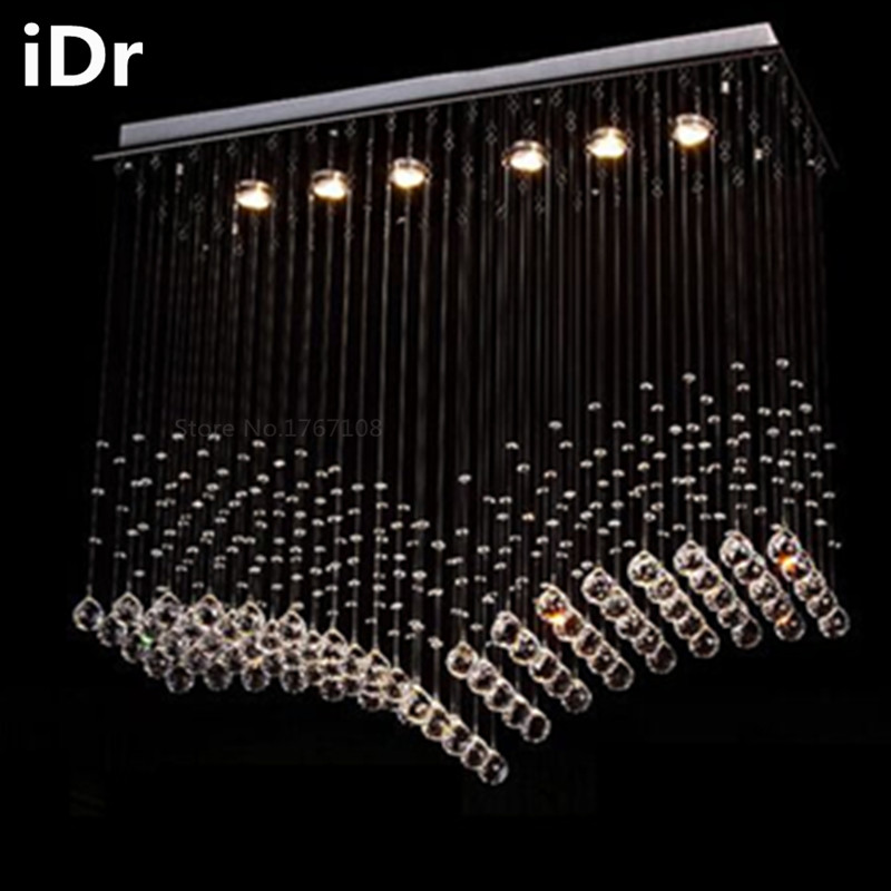 Contemporary Crystal High-grade light Light rectangular stainless steel pendant lamp bedroom ceiling curtain wholesale shipping