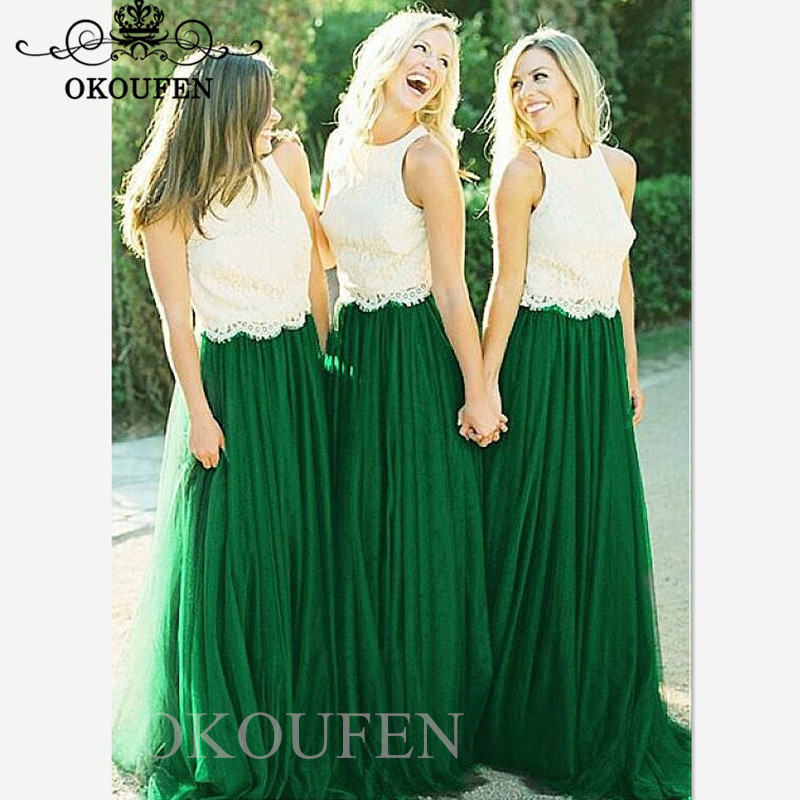 Stunning Beach Bohemia Long   Bridesmaid     Dresses   2019 White Lace Top and Green Tulle Long Maid Of Honor   Dress   Party Gown