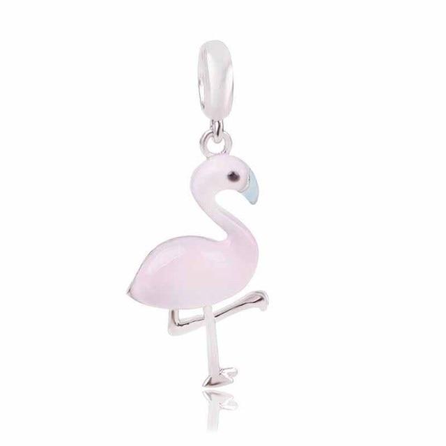 Ranqin Original Charm Girl Personality Bead Pendant Necklace DIY Suitable For Pandora Bracelet Europe Jewelry Pink Flamingo
