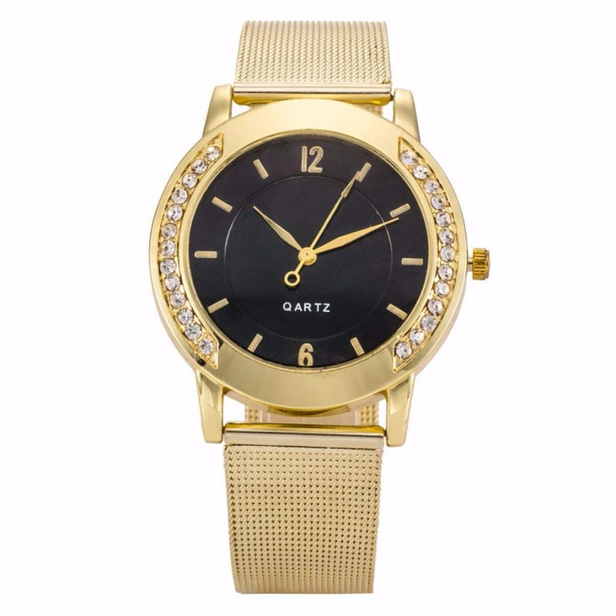 Genvivia Men Wristwatch Stainless-Steel Fashion Golden Analog Quartz Crystal Relojes