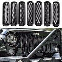 7PCS Front Mesh Grill Guard Grille Insert Kit For Jeep Wrangler JK JKU Sports Sahara Freedom