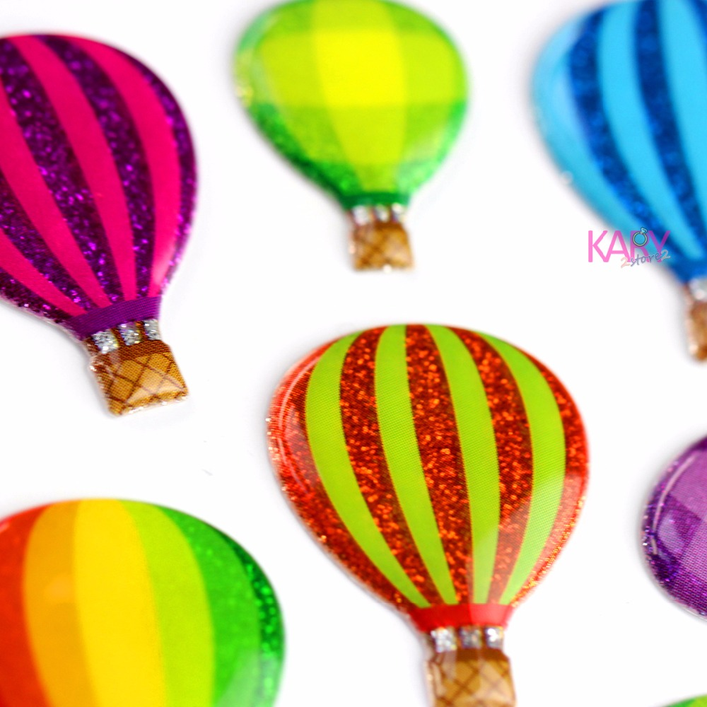 Colorful Hot Air Sightseeing Balloon Scrapbooking Sparkle Bubble Stickers High Quality Special Toys Reward Kids For Children -13