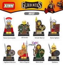 80 pcs Gladiatus Médiévale Chevaliers Rome Commandant Elf Hunter Highland Guerrier building blocks briques Cadeau jeux enfant enfants jouets(China (Mainland))