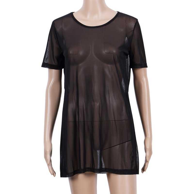 새로운 2020 여성 섹시한 솔리드 쉬어 메쉬를 통해 볼 수 있습니다. 짧은 소매 비키니 커버 오버 사이즈 오 넥 루스 비치 드레스 수영복