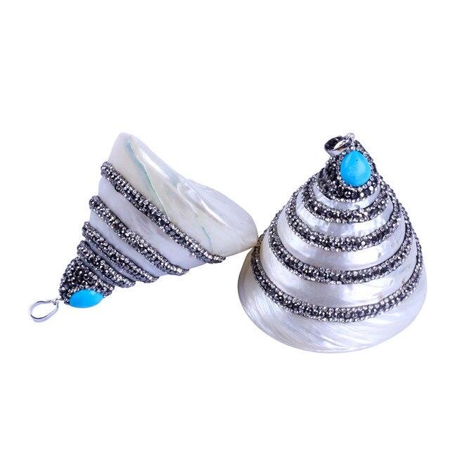 Trinket Natural Pearl Pave Rhinestones Pendant Pyramid Shape Charm Stone  Pendant for Women Jewelry Making f28239f1de0a