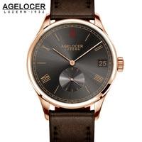 หรูหราAGELOCERนาฬิกาข้อมือยี่ห้อวิศวกรรมนาฬิกาบทบาทชุบทองไขลานทหารFossilerอัตโนมัติวันที่อัตโนมั...