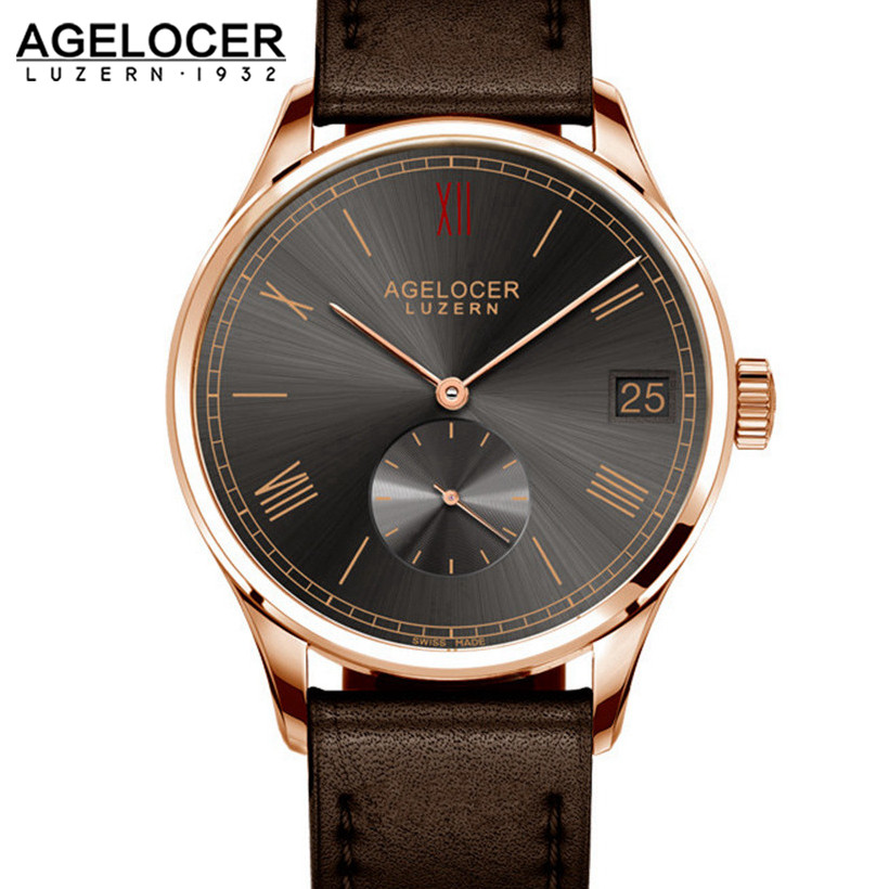 Luxury AGELOCER Wristwatch Brand Mechanical role Watch Gold palted Self Winding Military