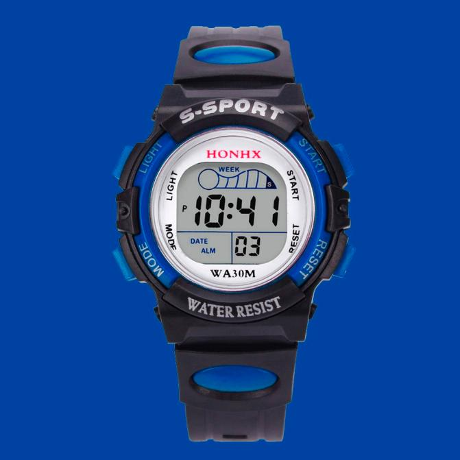 Luxury Brand HONHX Waterproof Children Boys Mens Watch Digital LED Military Sports Watch Silicone Band Kids Alarm Date Watch