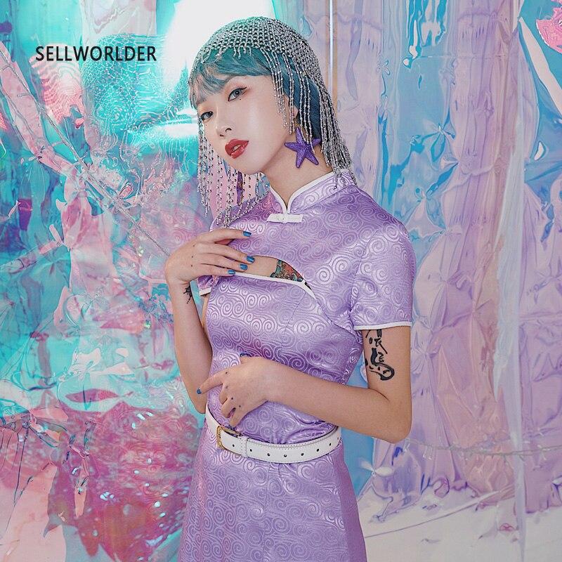 2019 femme style chinois amélioration violet Cheongsam slim Vintage taille haute imprimer deux pièces ensemble robe