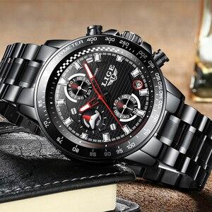 Image 2 - Lige relógio esportivo luxuoso de quartzo, masculino totalmente em aço à prova dágua preto