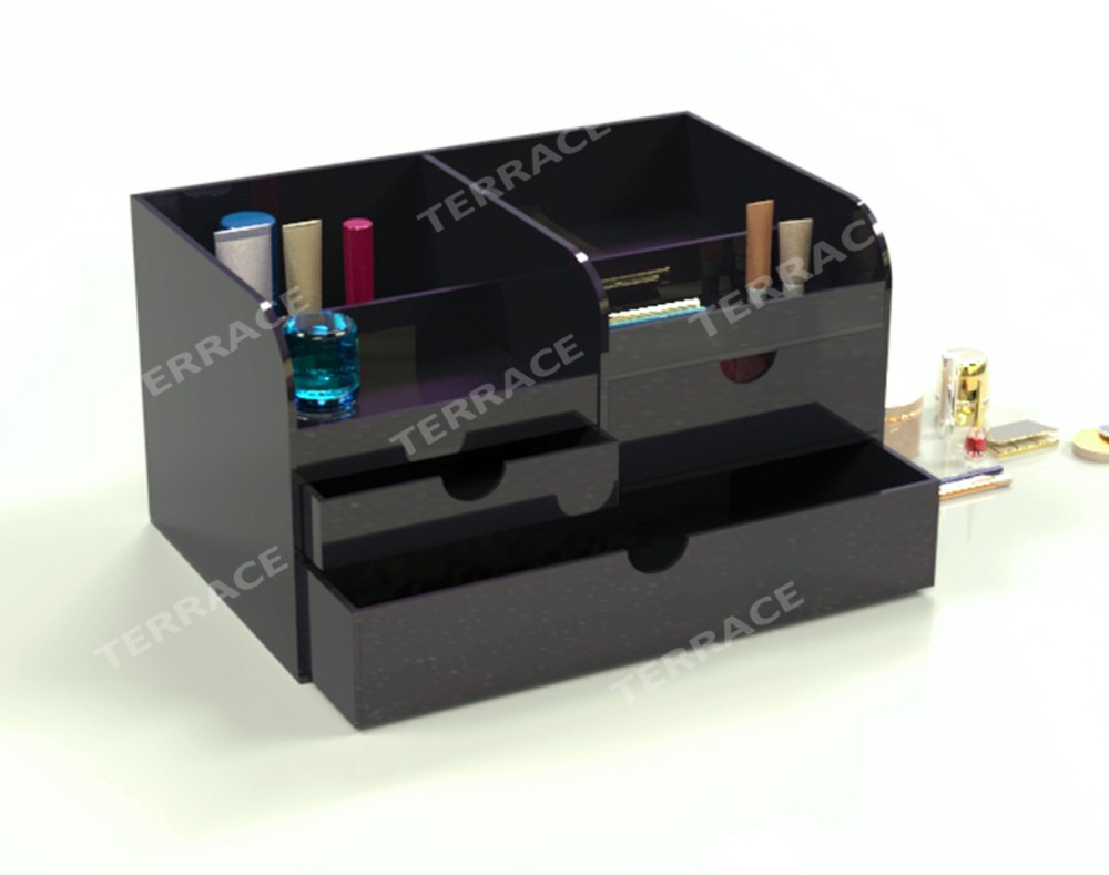 Black Perspex Lucite Cosmetics Drawer Box Acrylic HomeSalon Use