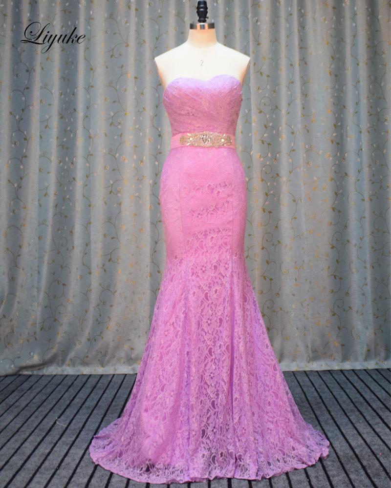 Liyuke Lace Strapless Formal Dress Off The Shoulder Ruched Pleats Off The Shoulder Elegant Mermaid Bridesmaid Dresses