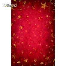 Laeacco Photography Backdrops Gold Star Red Gradient Solid Color Wall Party Pattern Baby Photo Background Photocall Photo Studio