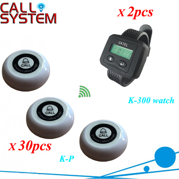 Service call transmitter system 2 wrsit watch pager work with 30pcs table buzzer restaurant equipments with CE free shipping restaurant pager watch wireless call buzzer system work with 3 pcs wrist watch and 25pcs waitress bell button p h4
