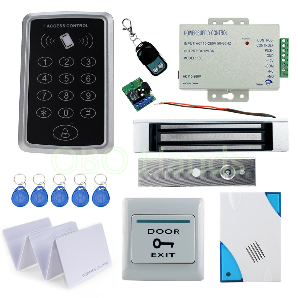 Standalone ID access control single door system+ 350 pounds 180KG magnetic lock+power supply+exit button+ID key/ card+Remote access control systems proximity card waterproof standalone access control power supply magnetic lock exit button 10pcs rfid key