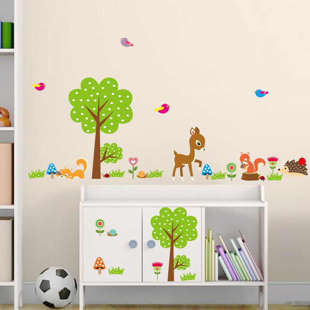 1229 Trees forest zoo animal wall stickers living room bedroom ...