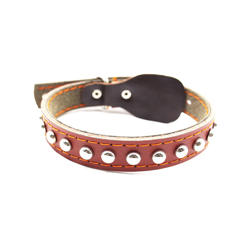 HSWLL Pet Single Row Rivet Dog Collar Cowhide Material Medium Large Dog Collar