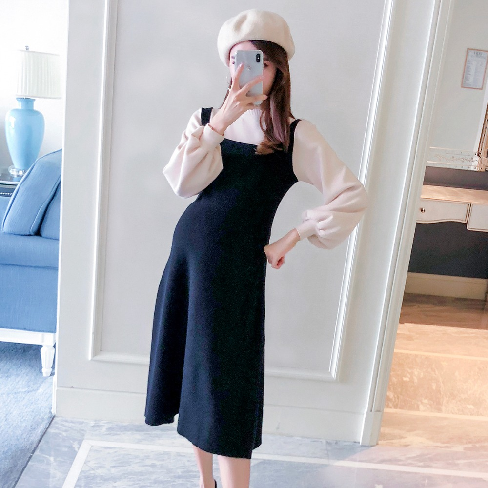 High quality 2018 autumn new cotton fashion color matching fake two pieces maternity dress Korean long sleeve dress high quality 2017 runway dress women s fashion green hydrangea flora print full sleeve button long bohe dress fast express free