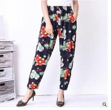 Autumn 2018 high elastic flowers print slub cotton pants casual loose comfortable personality wide leg pants plus size 5xl 6xl