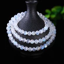 Genuine Natural Clear Moonstone Crystal 3 Laps Round Beads Women Men Bracelet 6mm Healing Stone Fashion Necklace AAAAA