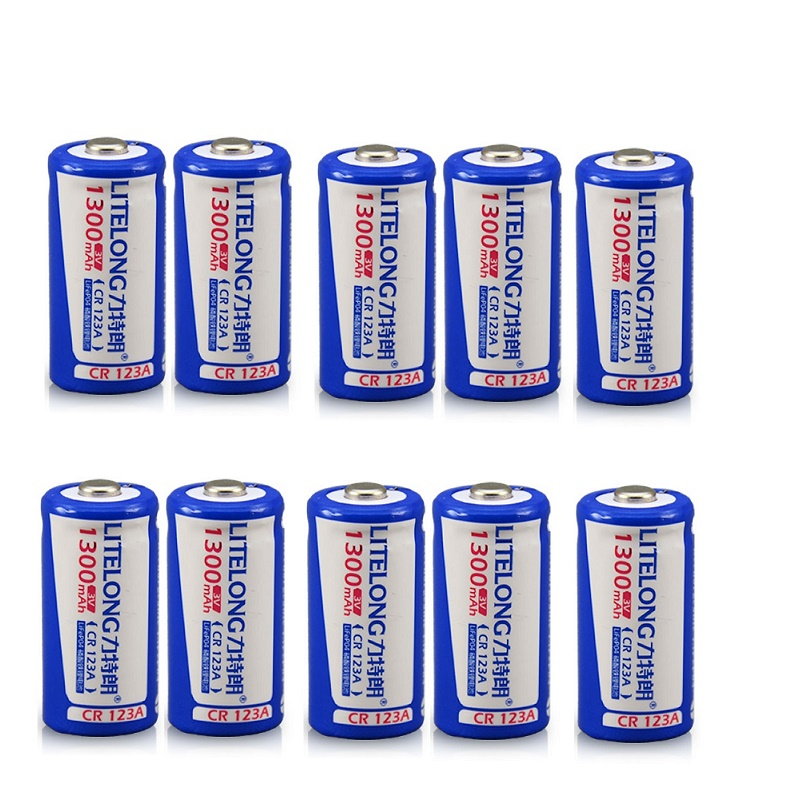 10PCS Large capacity 3V 1300mAh rechargeable lithium battery 16340 battery camera instrumentation CR123A rechargeable battery