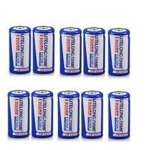 Lot de 10 batteries lithium rechargeables 3V 1300mAh, grande capacité, pour appareil photo, instruments CR123A, 16340