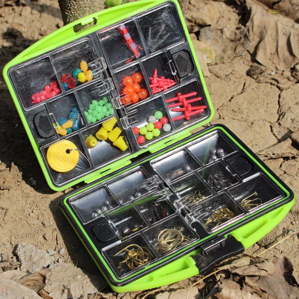 1 Set 24pcs Green Fishing Tackle Box Baits Swivels Snaps Jigs Hooks Lead Sinker Beads Carp Casting Fishing Tackle Tools