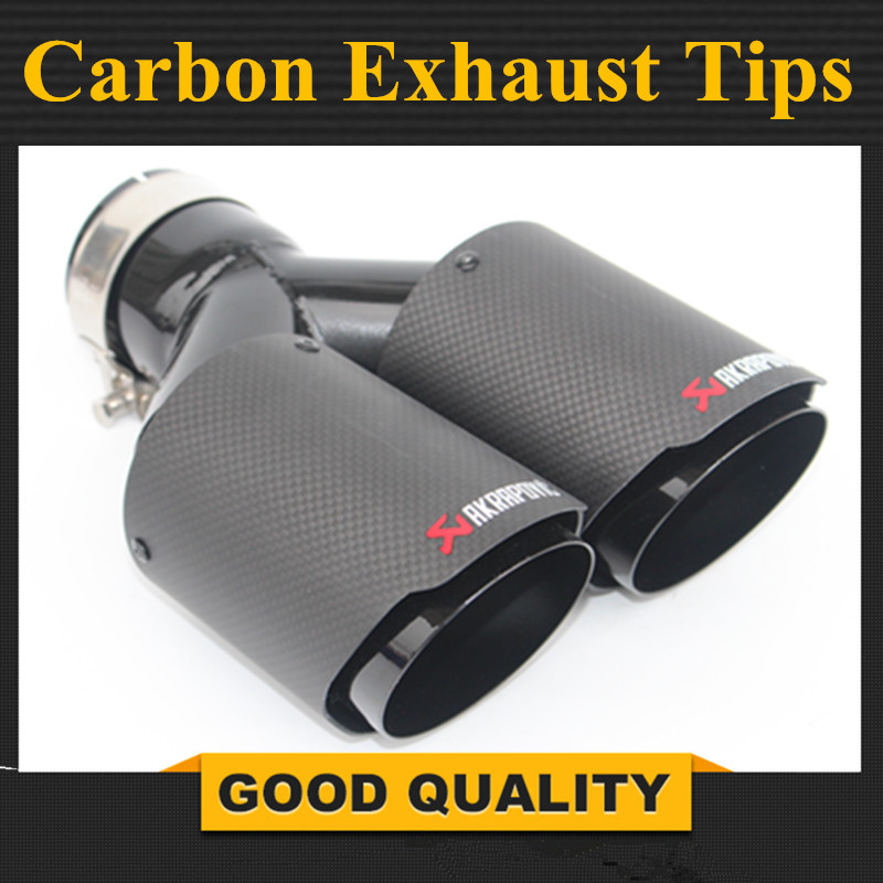 A Pece Dual Stainless Akrapovic exhaust tip Black Carbon Fiber tailpipe Inlet 2.5