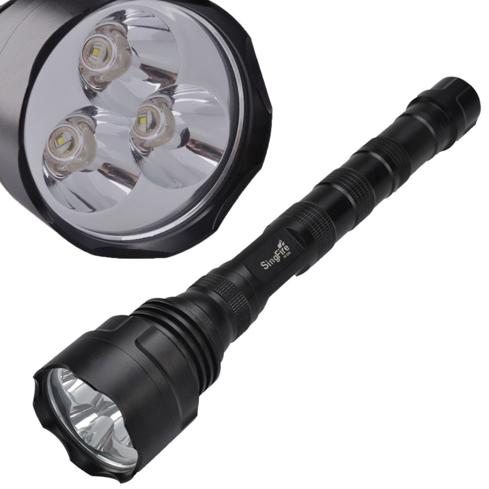 SingFire SF-500 3 x CREE XR-E Q5 5-Mode 750lm White Led Flashlight by 18650 Batteries- Black 5 mode 250 lumen led drop in module w cree xr e r2 wc for wf 502b and flashlights alike 3 6v 8 4v