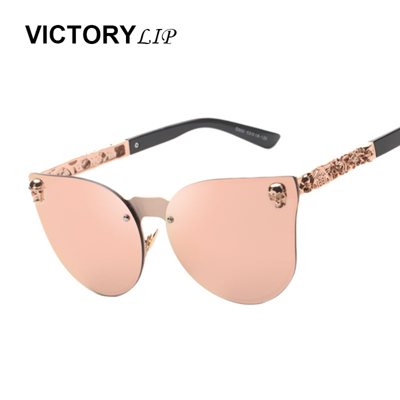 2017 New Rose Gold Sunglasses Women Skull Mirror Brand Designer Metal Frame Sun Glasses Mirror Flat Lens Cat Eye Hot Sale Glasse