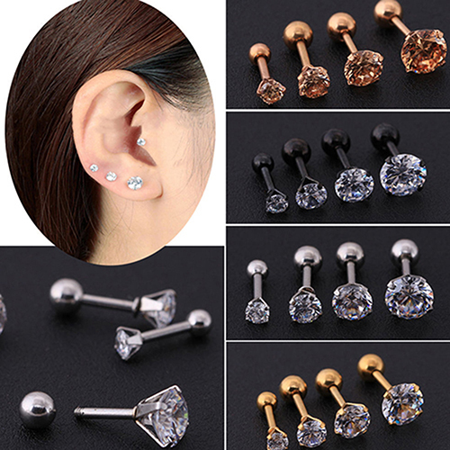 5e4a1d83d Men Women Rhinestone Ear Stud Cartilage Tragus Bar Helix Upper Ear Bone Piercing  Earring Stud Jewelry Fashion Gift Wholesale