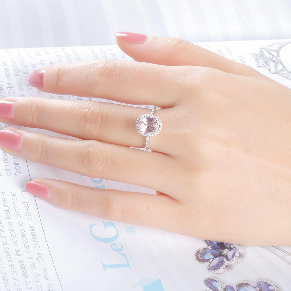 UMCHO Luksuzni Ovalni ružičasti Sapphire prstenovi pravi 925 - Fine nakit - Foto 4