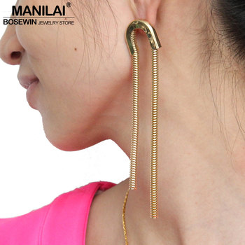 MANILAI Gothic Exaggerated Dangle Earring For Women New Style Alloy UShape Snake Chain Drop Earrings Statement Jewelry FE190 chain