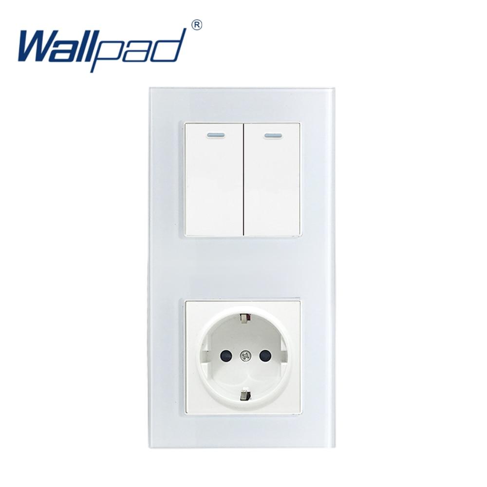 172*86mm Wallpad White Crystal Glass Panel 110V-250V 16A EU EU Power Socket And 2 Gang 2 Way Wall Rocker Switch In Vertical