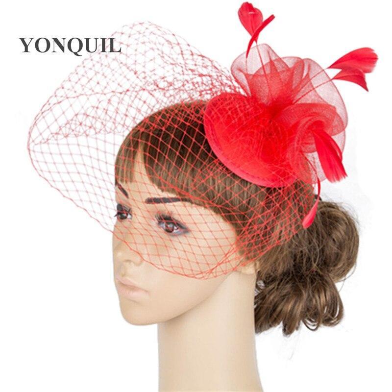 Дерби украшение с перьями аксессуары для волос 3 розы с птичьей клеткой украшения Свадебные вуали вечерние шапки несколько цветов - Цвет: Красный